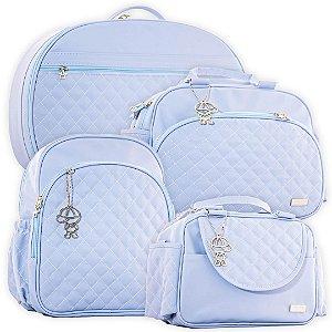Kit Bolsas de Maternidade Matelassê Azul Claro - Baby Bless (4 peças)
