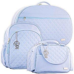 Kit Bolsas de Maternidade com Mochila Matelassê Azul Claro - Baby Bless (3 peças)