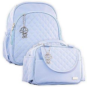 Mochila Maternidade e Frasqueira Térmica Matelassê Azul Claro - Baby Bless