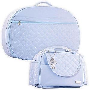 Mala Maternidade e Frasqueira Térmica Matelassê Azul Claro - Baby Bless