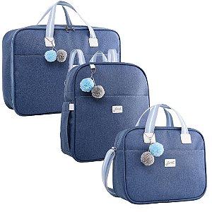 Kit Bolsas de Maternidade com Mochila Color Azul - Just Baby (3 peças)