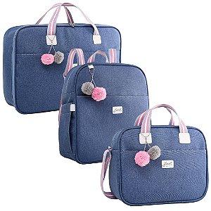 Kit Bolsas de Maternidade com Mochila Color Rosa - Just Baby (3 peças)