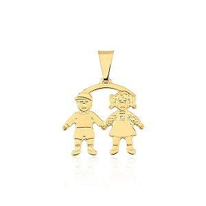 Pingente Menina e Menino banhado a ouro