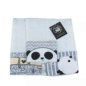 Kit 3 Panos de Boca Panda Cinza - Coração de Mãe