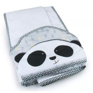 Toalha de Banho com Capuz Panda Cinza - Coração de Mãe