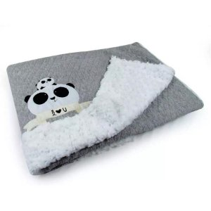 Cobertor Matelassê com Pelúcia Panda Cinza - Coração de Mãe