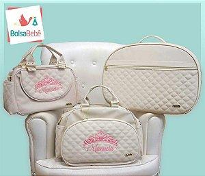 Kit Bolsas Maternidade Matelassê Bege Personalizada - Angel's Baby