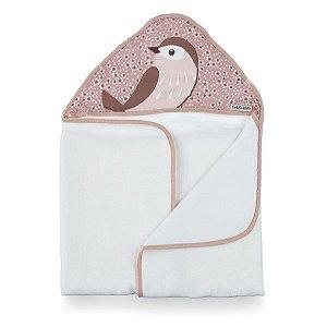 Toalha de Banho com Capuz Birds Rosa - Coração de Mãe