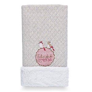 Cobertor para Bebê Peluciado Birds Rosa - Coração de Mãe