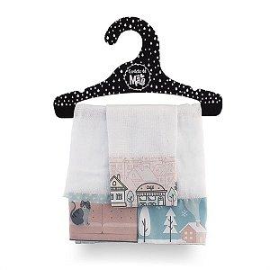 Kit 3 Babitas Fraldas de Boca Casinha Rosê - Coração de Mãe