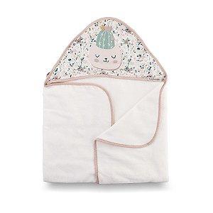 Toalha de Banho com Capuz Botânica Rosa - Coração de Mãe