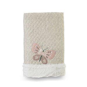 Cobertor para Bebê Peluciado Botânica Rosa - Coração de Mãe