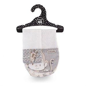 Kit Babador de Ombro + Babita Clássicos Bege e Cinza - Coração de Mãe