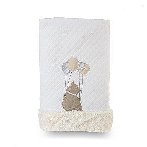 Cobertor para Bebê Peluciado Clássicos Bege e Cinza - Coração de Mãe