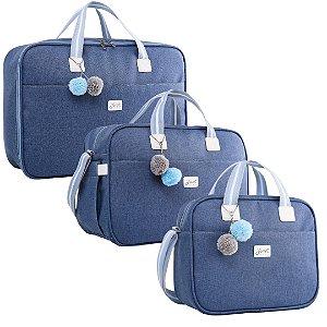 Kit Bolsas de Maternidade Color Azul - Just Baby (3 peças)