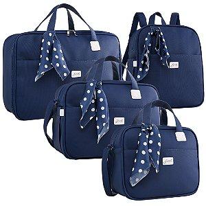 Kit Bolsas de Maternidade Candy Azul Marinho - Just Baby (4 peças)