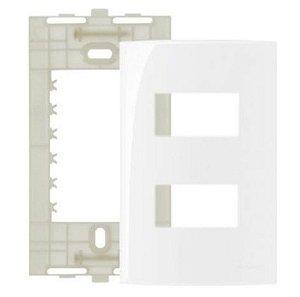 """Conjunto Placa 4x2"""" com 2 postos separados MarGirius Sleek + Suporte - 16024"""
