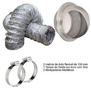 Kit para Instalação de Coifas com Tampa de Saída em Inox com Tela Protetora Tramontina  - 150mm com 3 metros de Duto