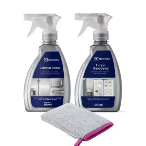 Kit Luva de Microfibra + Limpa Inox com Secagem Rápida + Limpa Geladeira Electrolux