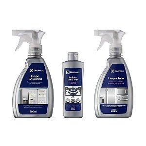Kit Limpa Geladeira - 500ml + Polidor Inox - 200ml + Limpa Inox - 500ml Electrolux