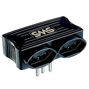 Carregador 2 USB + 2 Tomadas - SMS - Cor: Preto
