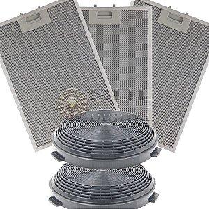 Kit Filtros para Coifa Electrolux Ilha 90CIT - Carvão e Metálicos