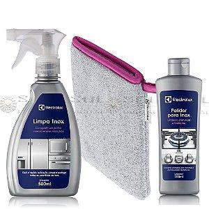 Polidor para Inox + Luva Polimento + Líquido Limpador com Secagem Rápida