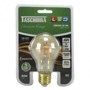 Lâmpada LED Filamento A60 Dimerizável 4W Taschibra