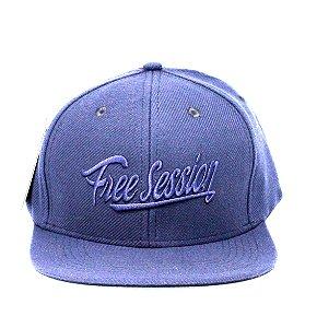 Boné Free Session Snapback Aba Reta Logo Azul