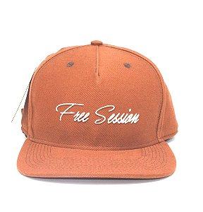Boné Snapback Aba Reta Free Session Logo Laranja
