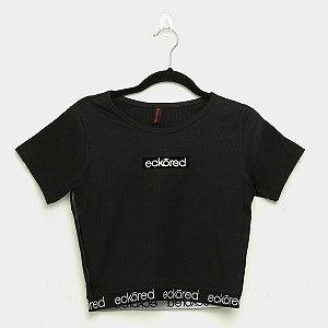 Camiseta Fem Ecko Preta Logo Dourado