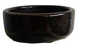 vaso bonsai esmaltado preto - 15X5,5