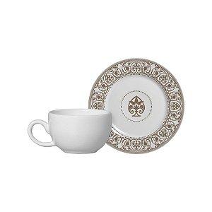Conjunto 06 Xícaras e Pires Café - Madeleine Fendi - Alleanza Cerâmica