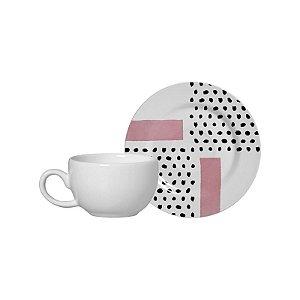 Conjunto 06 Xícaras e Pires Café - Geométrica 5 - Alleanza Cerâmica