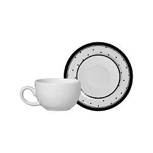 Conjunto 06 Xícaras e Pires Café - Petit Pois - Alleanza Cerâmica