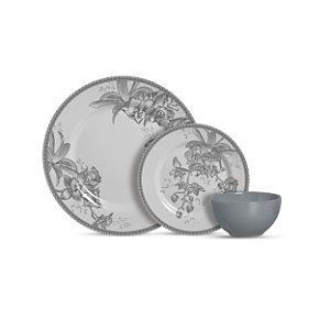 Aparelho de Jantar 12 peças com Bowl - Heritage Cinza - Alleanza Cerâmica