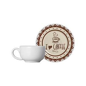 Conjunto 06 Xícaras e Pires Café - Coffee - Alleanza Cerâmica