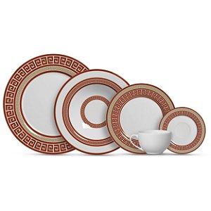 Aparelho de Jantar e Chá 20 peças - Grega Vermelha - Alleanza Cerâmica