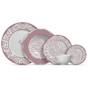 Aparelho de Jantar e Chá 20 peças - Branch Rosé - Alleanza Cerâmica