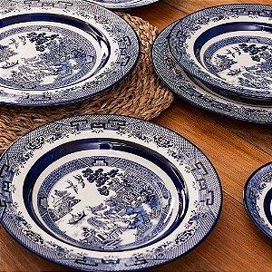Aparelho de Jantar e Chá 30 peças - Flamingo Blue Willow - Oxford Porcelanas