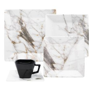 Aparelho de Jantar e Chá 30 peças - Quartier Golden Stone - Oxford Porcelanas