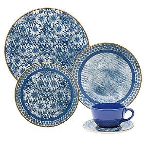 Aparelho de Jantar e Chá 30 peças - Unni Jeans - Oxford Porcelanas