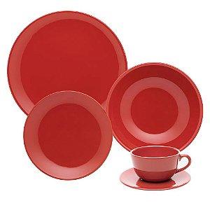 Aparelho de Jantar e Chá 30 peças - Unni Red - Oxford Porcelanas