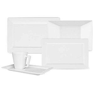 Aparelho de Jantar e Chá 30 peças - Plateau White - Oxford Porcelanas