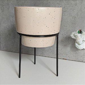 Vaso em Cerâmica para Plantas / Suculentas com Suporte de Ferro - Novel Granilite