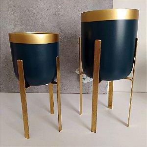 Vasos em Cerâmica para Plantas / Suculentas com Suporte Quadrado de Ferro  - Novel Blue Quartz