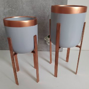 Vasos em Cerâmica para Plantas / Suculentas com Suporte Quadrado de Ferro  - Novel Bronze