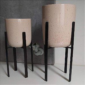 Vasos em Cerâmica para Plantas / Suculentas com Suporte Quadrado de Ferro  - Novel Granilite