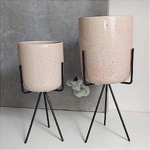 Vasos em Cerâmica para Plantas / Suculentas com Suporte Triangular de Ferro  - Novel Granilite