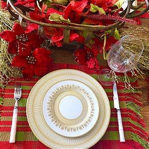 Aparelho de Jantar e Chá 20 peças - Plissan Rendado Dourado - Alleanza Cerâmica